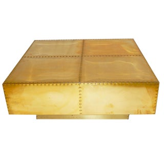 Sarreid Mid-Century Modern Brass Coffee Table