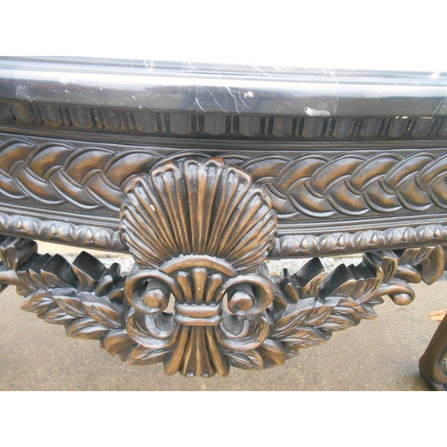 French Rococo Style Carved Wood & Marble Top Console Table - Image 6 of 8