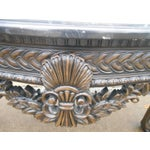 Image of French Rococo Style Carved Wood & Marble Top Console Table