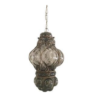 Vintage Hand Blown Glass Cage Pendant