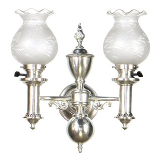 Set of 4 Silver Argand Sconces