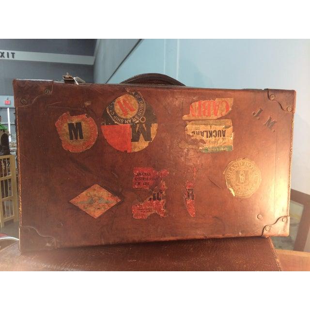 Antique Suitcase Bullock Hide Worldwide Traveler - Image 3 of 6