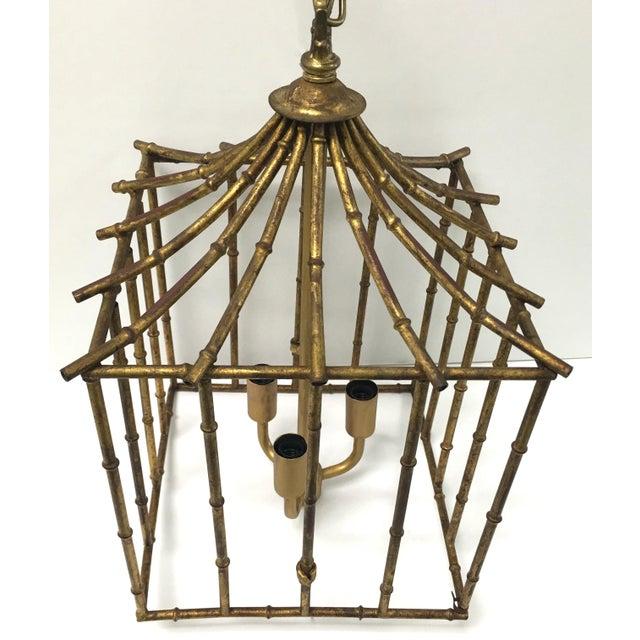 Italian Gilt Bamboo Birdcage Style Pendant Light - Image 2 of 7
