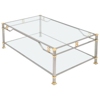 Vintage Steel & Gilt Brass Coffee Table