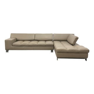 Modern Tan Leather Sectional Sofa