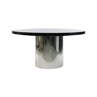 Knoll Marble Top Chrome Base Round Dining Table