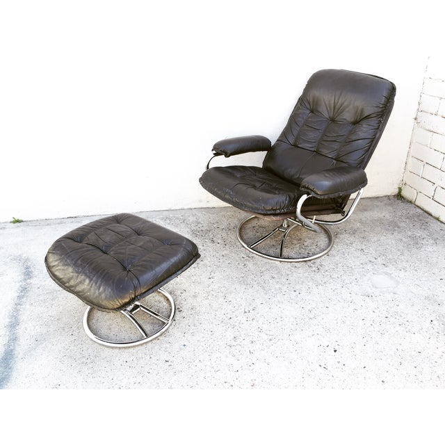 Mid-Century Italian Leather Chair and Ottoman - Image 2 of 11