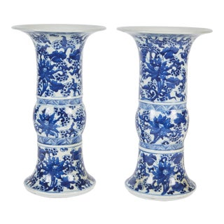 Pair of 19th Century Chinese Blue and White Vases