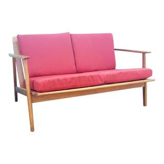 Mid-Century Modern Wood Frame Loveseat
