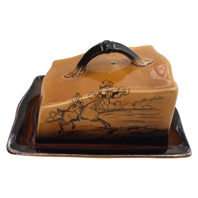 Antique English Huntsman Brown Butter Dish - Image 1 of 9