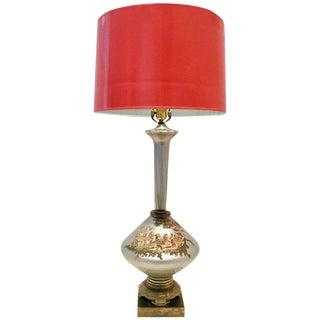 Vintage Italian Venetian Glass Reverse Painted Silver Leaf Decalcomania Lamp