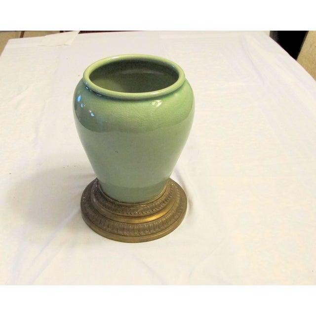 Image of Celadon Vase With Brass Base