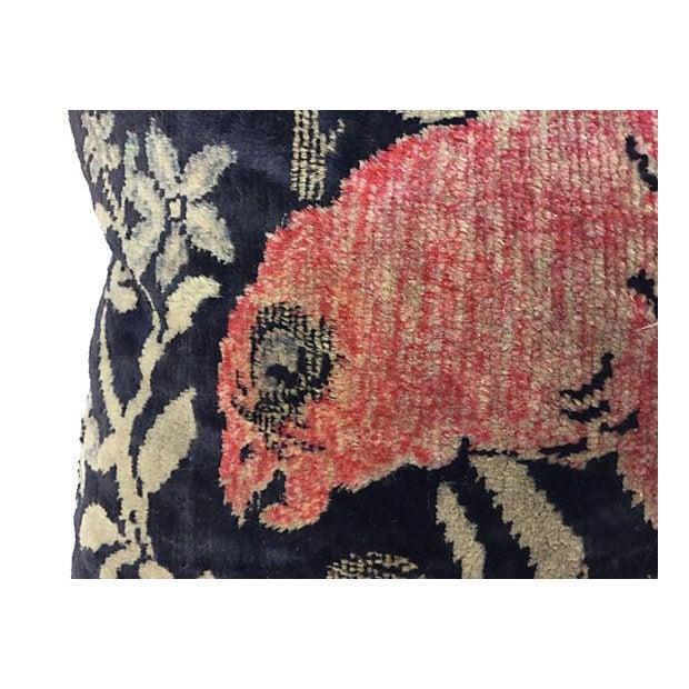Antique Velvet Floral Textile Pillow W/ Parrot - Image 3 of 6