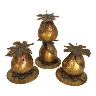 Vintage Gold Gilded Pear & Leaf Candle Holders - Set of 3
