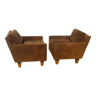 Milo Baughman Lounge Suede Leather Chair - A Pair