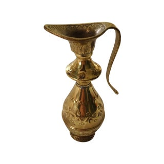 Vintage Gold Brass Vase with Intricate Detail