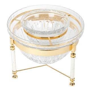 Mid-Century English Cut Crystal Caviar Dish On Stand