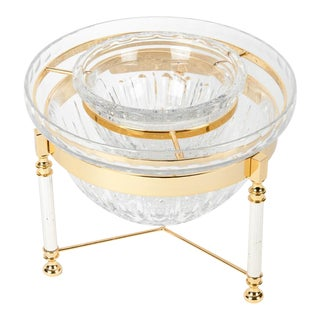 Mid-Century English Cut Crystal Caviar Dish On Stand