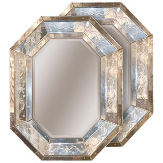 Pair of Venetian Octagonal Etched Glass Mirrors