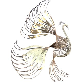 Curtis Jere Brass Peacock Wall Art