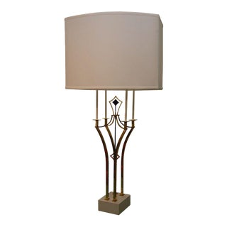 Brass & Iron Parzinger-Style Table Lamp