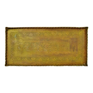 Vintage Large Rectangular Etched Brass Table Top Tray