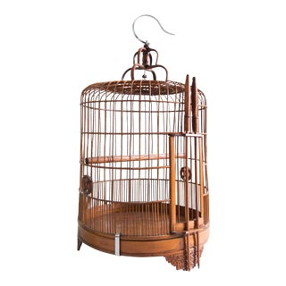 Vintage Chinese Bamboo Bird Cage