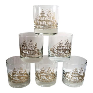 Vintage Ship Motif Low Ball Glasses - Set of 6