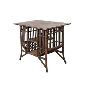 Lloyd Loom Stick Wicker Style Table with Storage