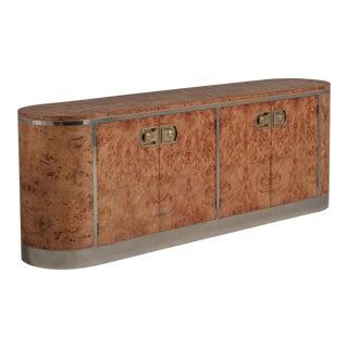 A Rare Burr and Chrome Four-Door Cabinet by Mastercraft, 1970s