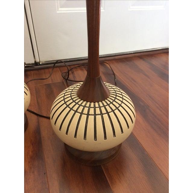 Vintage Danish Modern Teak Table Lamps - Pair | Chairish