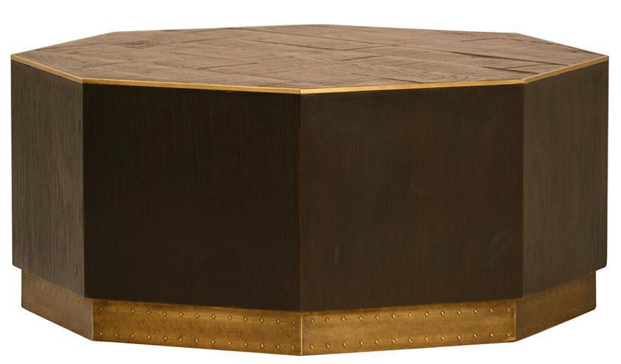 Wood U0026 Brass Octagon Coffee Table