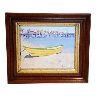 Framed Beach Scene Oil Painting