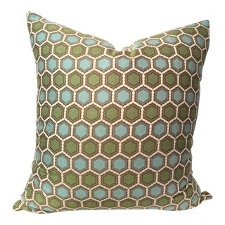 Turquoise & Green Hexagon Patterned Pillow
