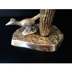 Image of Vintage Brass Cactus Statue With Roadrunner