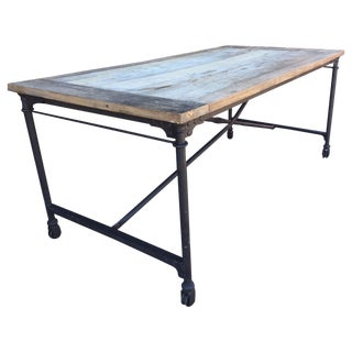 Rustic Wood and Metal Dining Table