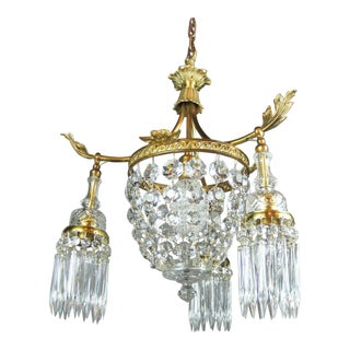 French Empire Crystal Basket Light Fixture Cherub Motif (4-Light)