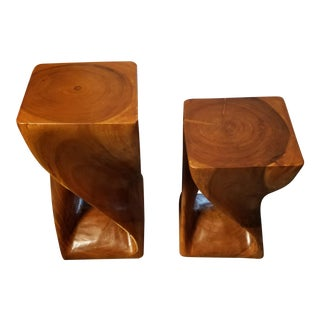 Crate & Barrel Turned Wood Accent Tables - A Pair