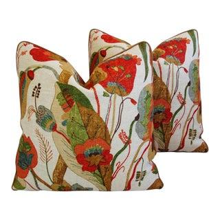 Designer GP & J Baker Lee Jofa Linen Pillows - A Pair
