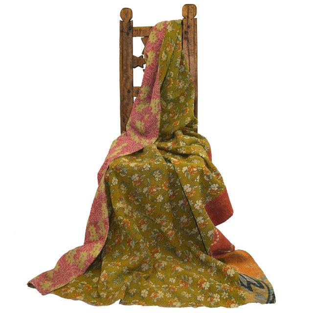 Image of Vintage Turkish Green Kantha Quilt