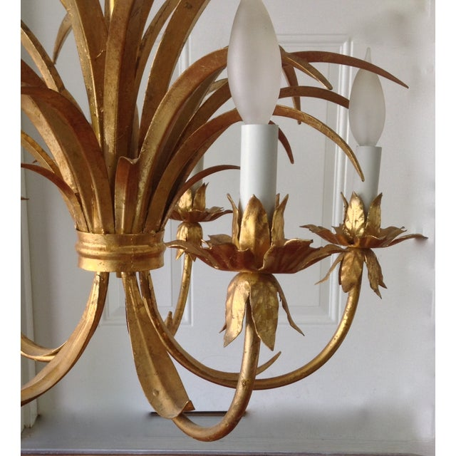 Hollywood Regency Gilt Tole Chandelier - Image 4 of 7