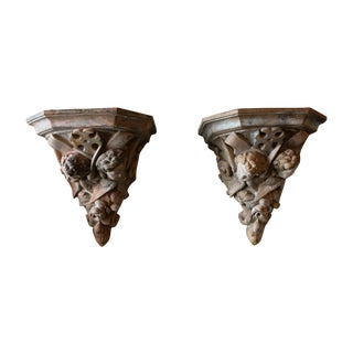 French 19th Century Terracotta Wall Brackets