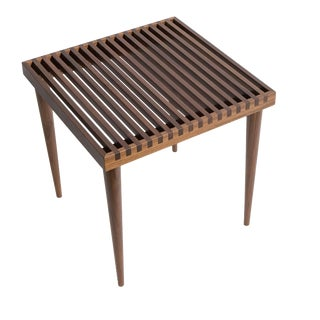 Smilow Furniture Walnut Slat Wood Side Tables/Stools