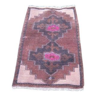 """Turkish Brown Wool Pile Small Vintage Rug - 1'9"""" x 3'0"""""""