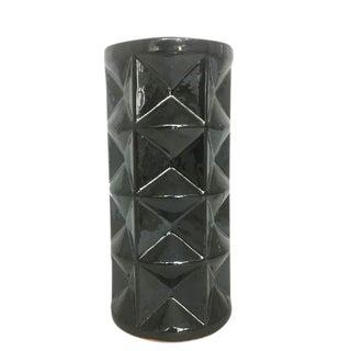 Metallic Gray Ceramic Vase