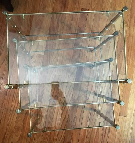 Hollywood Regency Faux Bamboo Brass U0026 Glass Nesting Tables   S/3   Image 5