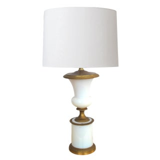 Good Quality French White Opaline Glass Urn-Form Lamp with Gilt-Bronze Fittings
