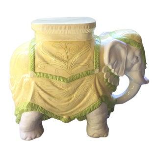 Mid-Century Italian Ceramic Elephant Garden Stool