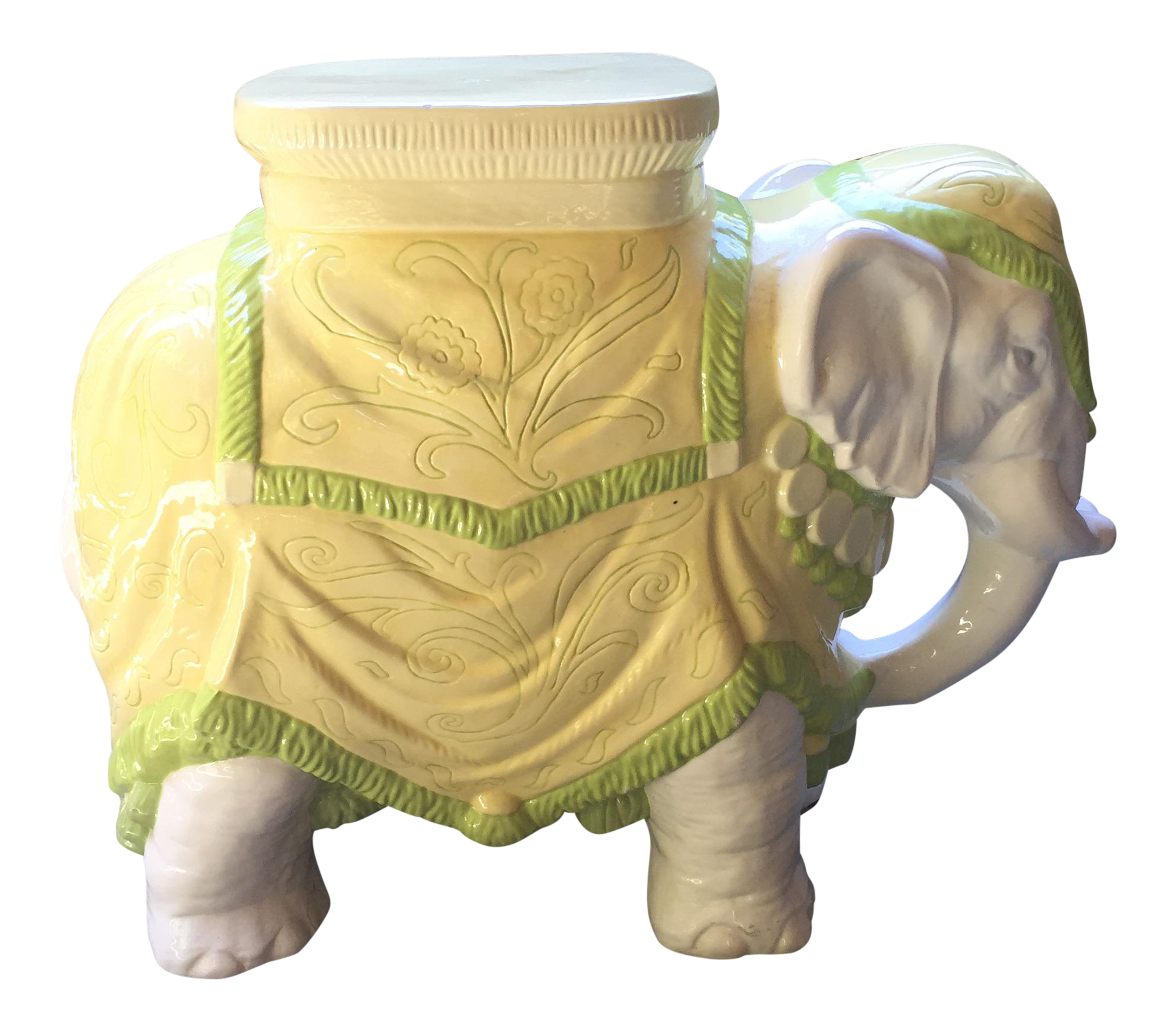 High Quality Mid Century Italian Ceramic Elephant Garden Stool   Image 1 Of 10