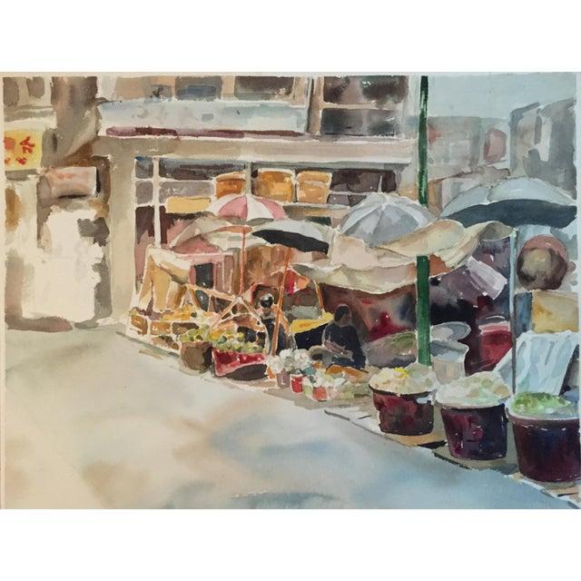 Thelma Moody Gouache Farmer's Market Painting - Image 7 of 7